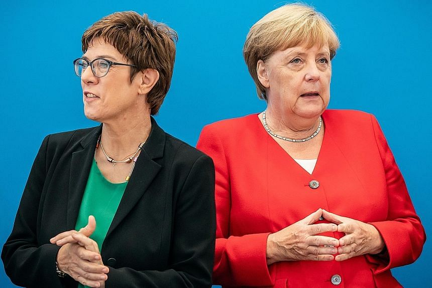 Will Ms Annegret Kramp-Karrenbauer (left),leader of the Christian Democratic Party take over from Dr Angela Merkel as the next German chancellor?