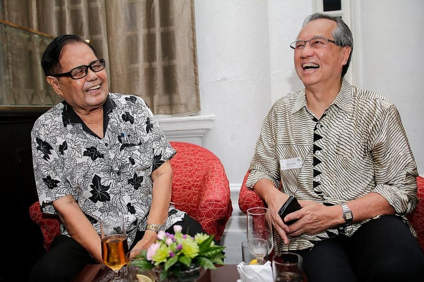 "Mr Coleman Baptist (left), 83, who taught generations of students at St Patrick's School over four decades and retired in 2016 at age 80, with one of his ""children"", Mr Khoo Teck Kim, 65, from the Class of 1969."