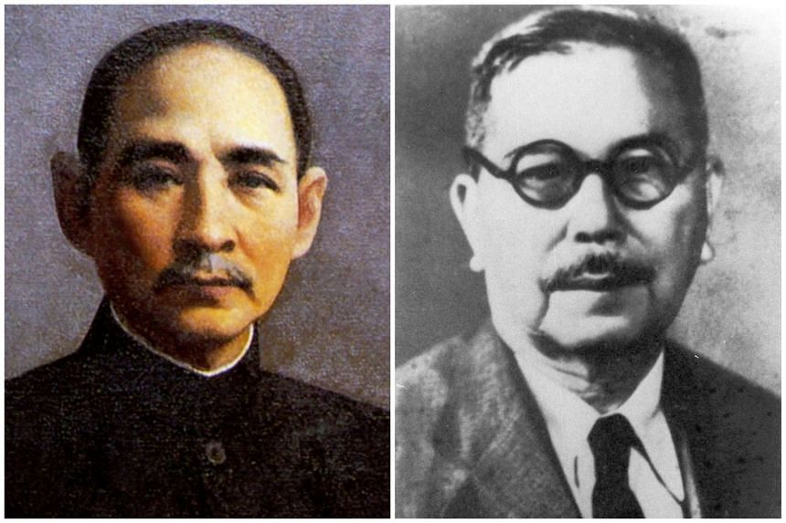 Dr Sun Yat Sen (left) and Tan Kah Kee, prominent leaders of the Chinese community that contributed to the Chinese identity in Singapore.