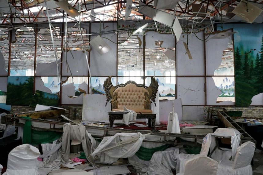A damaged stage of a wedding hall is seen after a blast in Kabul, Afghanistan on Aug 18, 2019.