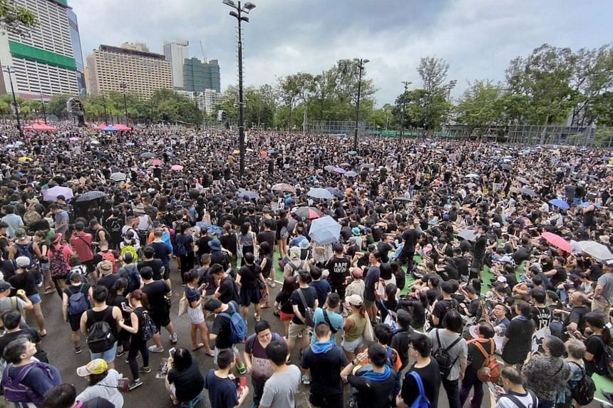 The crowd at the Victoria Park rally in Hong Kong on Aug 18, 2019.
