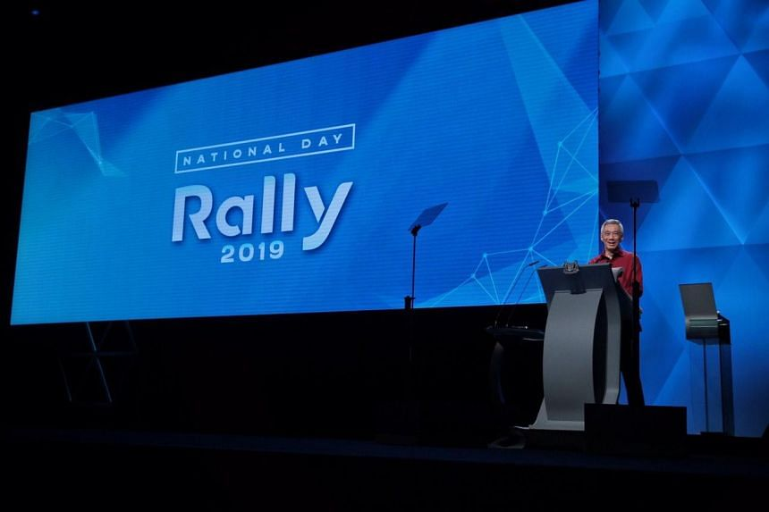 Prime Minister Lee Hsien Loong speaks at the National Day Rally at the Institute of Technical Education College Central campus in Ang Mo Kio, on Aug 18, 2019.