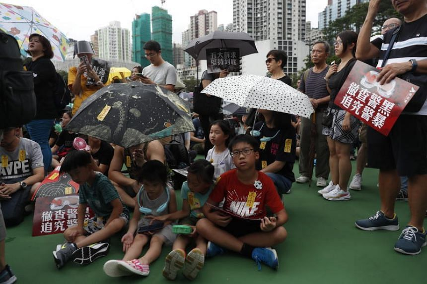 Protesters taking part in an anti-government rally in Victoria Park, Hong Kong, on Aug 18, 2019.