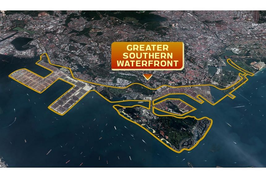 In sketching out what the Greater Southern Waterfront (GSW) will look like, PM Lee said entire area will be double the size of Punggol town.