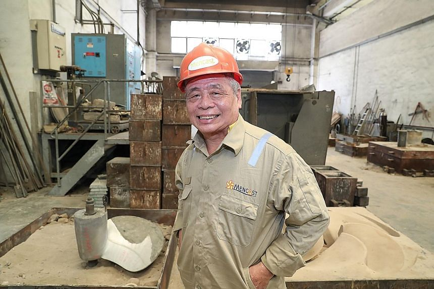 Mr Chan Ban Kiong, 64, is being trained by his employer Mencast Marine to operate 3D printers to make prototypes for ship propellers, something he used to do by hand. PHOTO: MINISTRY OF COMMUNICATIONS AND INFORMATION
