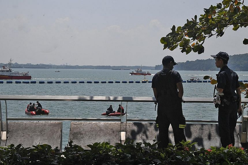 Officers from the police and the Singapore Civil Defence Force were seen searching for the missing man near Punggol Point Jetty yesterday.