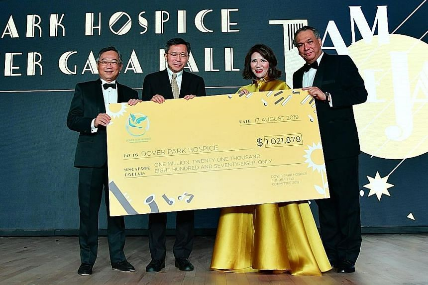 (From far left) Health Minister Gan Kim Yong, Dover Park Hospice chairman Robert Chew and fund-raising committee co-chairs Karen Soh and Kwa Chong Teck at the event last Saturday. The hospice plans to double its inpatient capacity to meet the demand