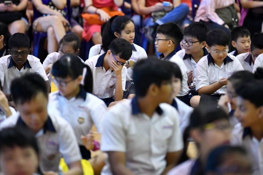 Students at the release of 2018 PSLE Results at Geylang Methodist School (Primary) on Nov 22.