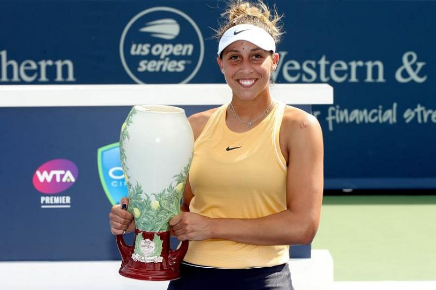 Madison Keys poses for photographers after defeating Svetlana Kuznetsova of Russia in the women's final during the Western & Southern Open at Lindner Family Tennis Center on Aug 18, 2019 in Mason, Ohio.