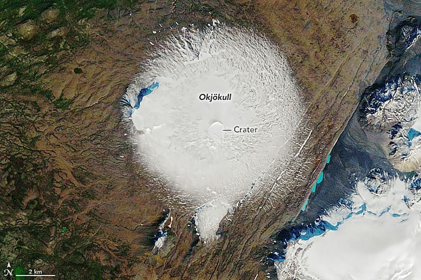 A Nasa image from  1986, showing the Okjokull glacier atop the Ok Volcano in Iceland.