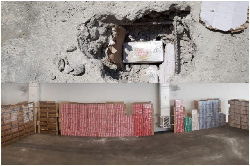 The cigarettes were hidden within a consignment of 16 concrete blocks.