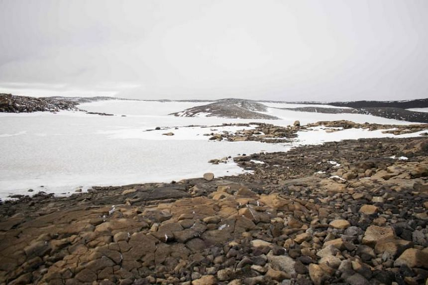 Snow is seen at the old glacier after a monument was unveiled at site of Okjokull, Iceland's first glacier lost to climate change, on Aug 18, 2019.
