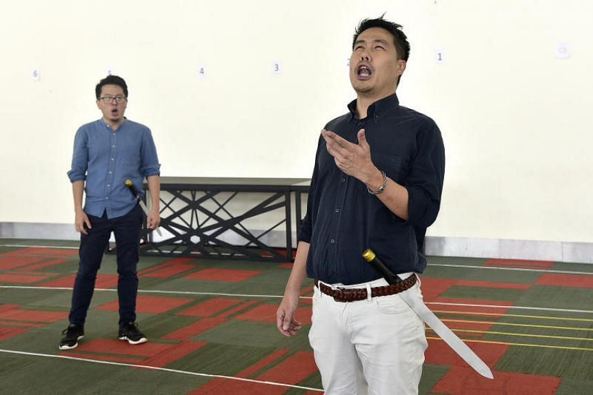 Jonathan Charles Tay (left) as Don Jose and Martin Ng as Escamillo at a rehearsal for Bizet's Carmen on Aug 14, 2019.