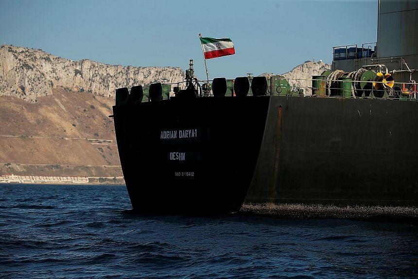 """The Adrian Darya 1 left anchorage off Gibraltar on Sunday. Iran said the US warrant had no legal basis and any renewed US attempt to seize the tanker would have """"heavy consequences"""". PHOTO: REUTERS"""