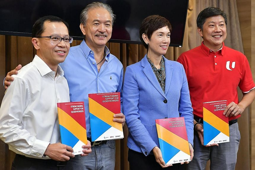 (From left) Permanent Secretary for Manpower and Tripartite Workgroup on Older Workers chairman Aubeck Kam; Singapore National Employers Federation president Robert Yap; Manpower Minister Josephine Teo; and National Trades Union Congress secretary-ge