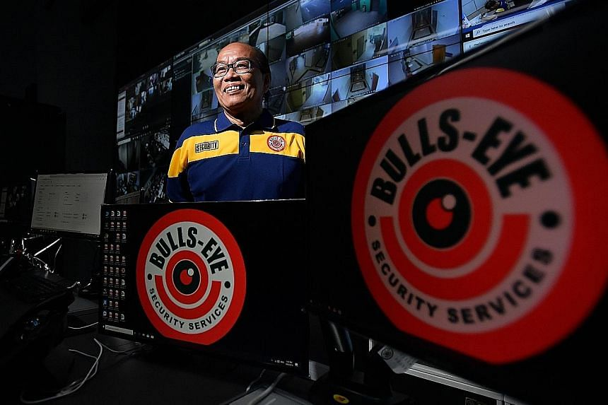 Mr Ahmad Basri conducts remote surveillance and gives advice to security officers on the ground from a control centre at Bulls-Eye Security Services. He was chosen for his work ethic and readiness to accept challenges.