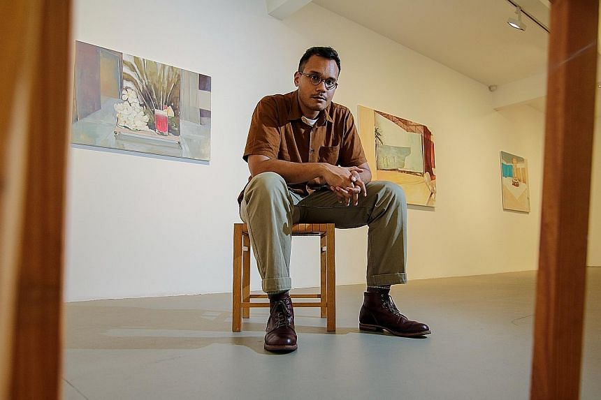 Artist Hilmi Johandi's solo show features eight paintings, three drawings and a video work.