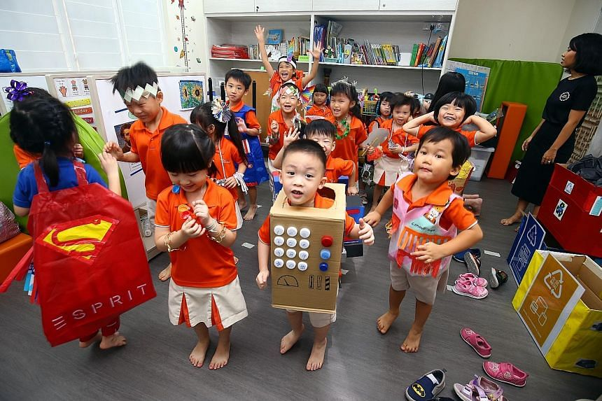 Above: Old flooding problems have largely been resolved, says PM Lee Hsien Loong, with an improved drainage system, among other measures. But climate change presents new challenges. Left: In education, full-day preschool capacity has been doubled to