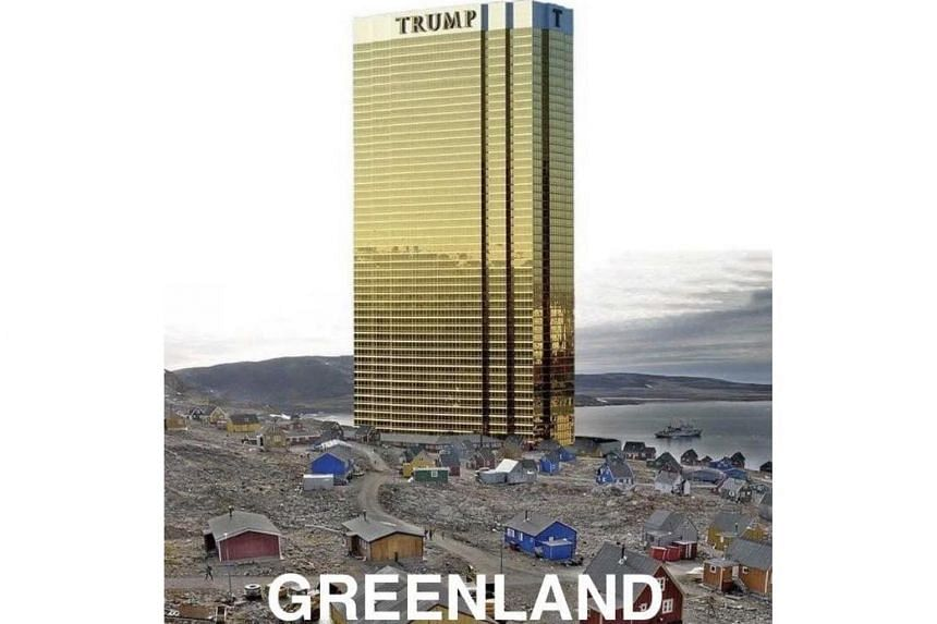 An image posted on Twitter by US President Donald Trump showing Trump Tower over Greenland.