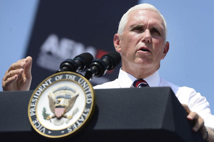 In a picture taken on Aug 1, 2019, Vice President Mike Pence speaks to employees at a Manitowoc crane facility in Shady Grove.