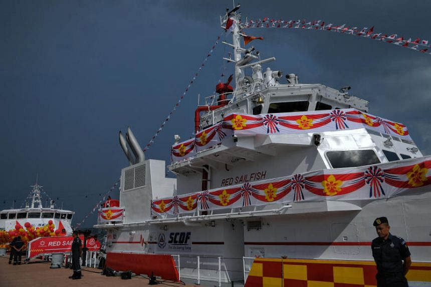 Heavy fire vessel Red Sailfish is able to pump out 240,000 litres of seawater a minute.