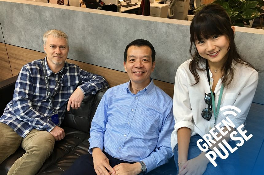 This month, ST's environment correspondent Audrey Tan and assistant foreign editor David Fogarty (left) chats with Professor William Chen - Nanyang Technological University's Michael Fam Chair Professor and the director of its Food Science and Te