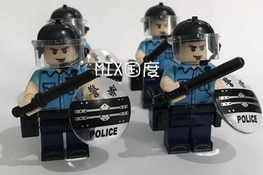 Also being sold are imitation Lego figures of Hong Kong police officers.