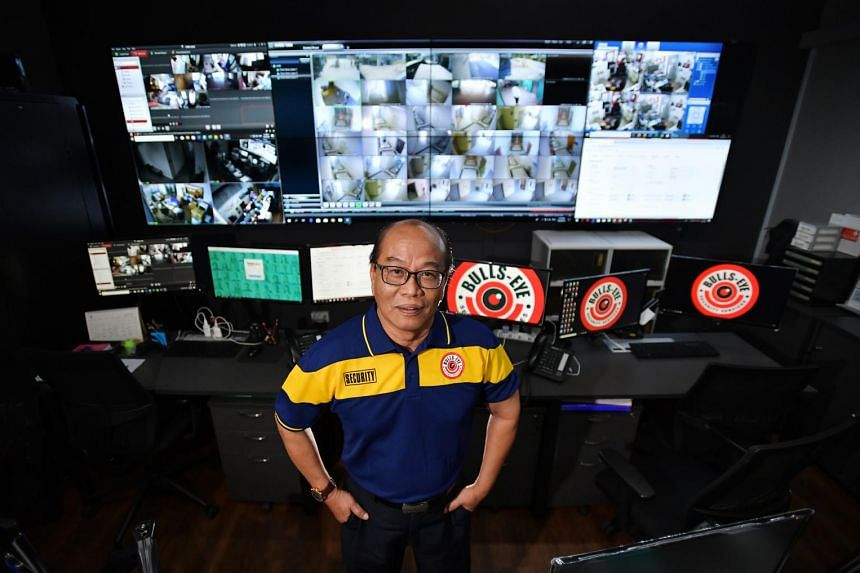 At 68, Mr Ahmad Basri is still keeping abreast of technology in his job at Bulls-Eye Security Services, where he conducts remote surveillance and advises security officers on the ground from a control centre.