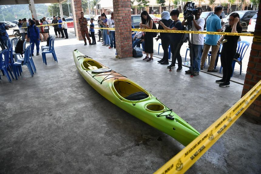 The bright green kayak that Mdm Puah Geok Tin, 57 and Mr Tan Eng Soon, 62, were last seen in before they were separated from their group in the Endau waters at Mersing on Aug 8.