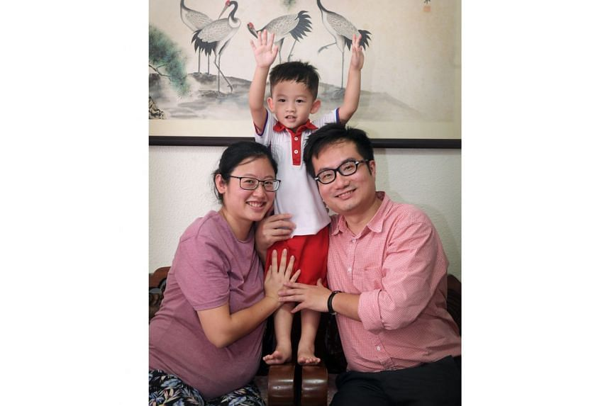 Madam Julia Koh and Mr Jason Low, both 32, with their three-year-old son Joern, who is enrolled in a PCF Sparkletots pre-school. The fees come up to about $500 monthly, about 20 per cent of their total expenditure. The couple are expecting another bo
