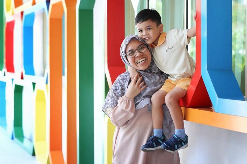 Housewife Shariza Sahari learnt tips and strategies that allowed her to interact better with her son Aqeel during sharing sessions at the Awwa Early Intervention Centre at Fernvale.