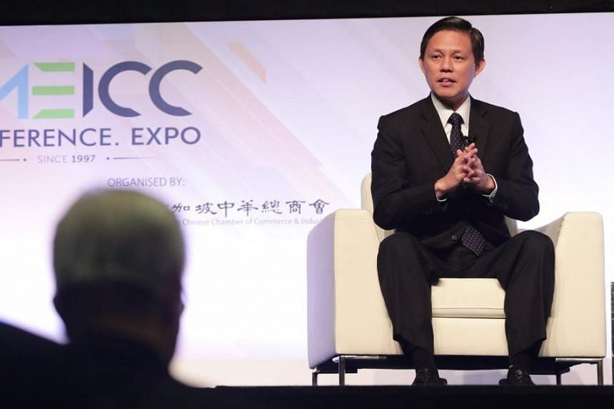 Trade and Industry Minister Chan Chun Sing speaking at a Singapore Chinese Chamber of Commerce and Industry conference, on Aug 21, 2019.