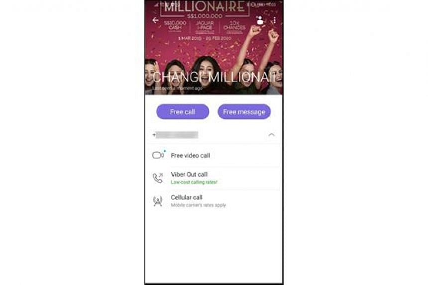 Scammers contact potential victims using a Viber account with an on-screen image from the Be A Changi Millionaire campaign advertisement. Changi Airport Group on Aug 21 said it received nine reports of such scam calls made with Viber and has reported