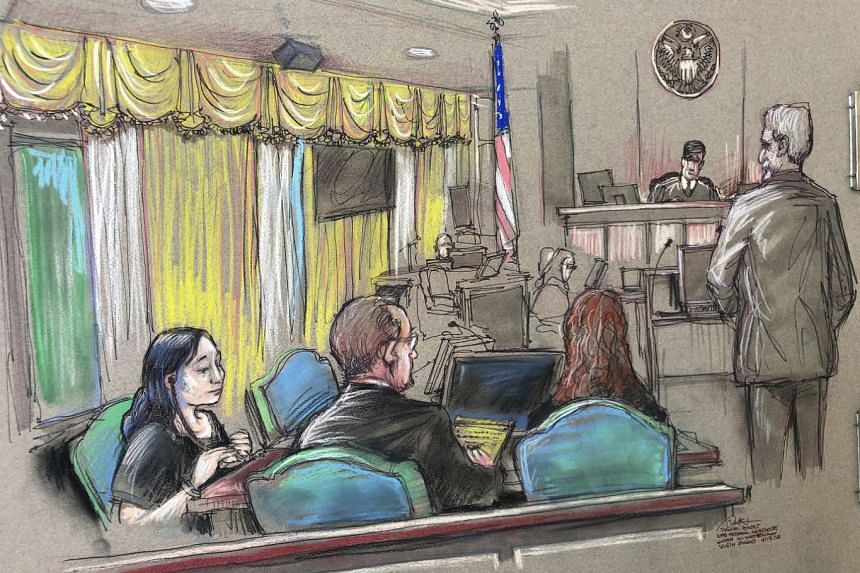 An April 2019 court sketch shows Zhang (left) listening to a hearing in West Palm Beach, Florida.