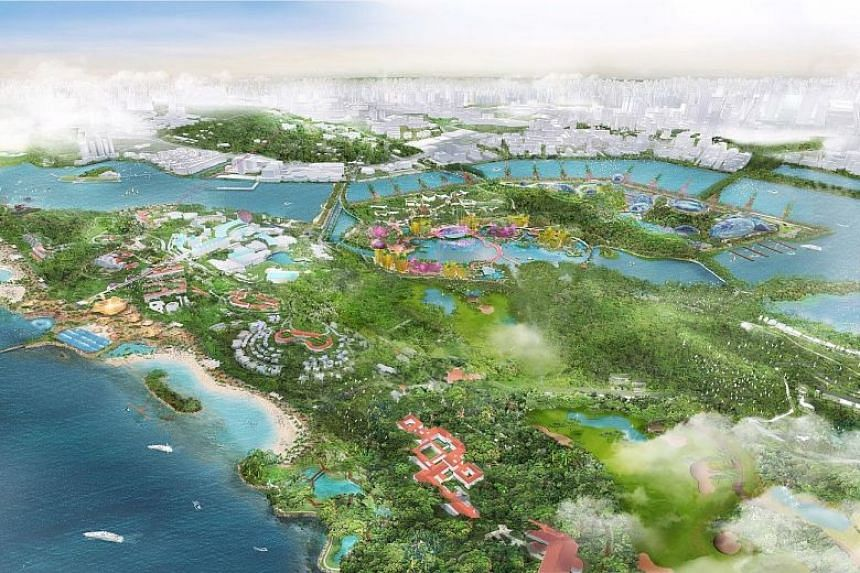 An artist's impression featuring a bird's eye view of developments on Sentosa and Pulau Brani. Attractions will be built on Brani, while Sentosa's beach areas will be revitalised, among other things.