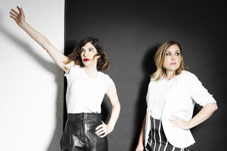American band Sleater-Kinney, made up of Carrie Brownstein (left) and Corin Tucker.