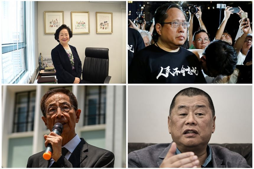 "(Clockwise from top left) Mrs Anson Chan, Mr Albert Ho, Mr Jimmy Lai and Mr Martin Lee were described as ""secretive middlemen and modern traitors"" in Chinese state media."
