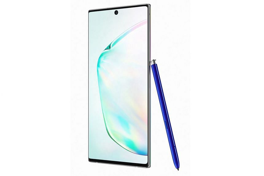 The Samsung Galaxy Note10+ smartphone comes in three colours - aura glow, aura black and aura white.