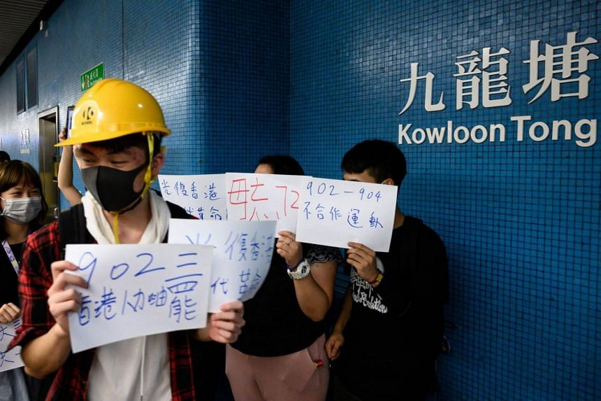 In this photo taken on Aug 21, 2019, protesters gather at the platform of Kowloon Tong MTR station during a non-cooperation movement in Hong Kong.