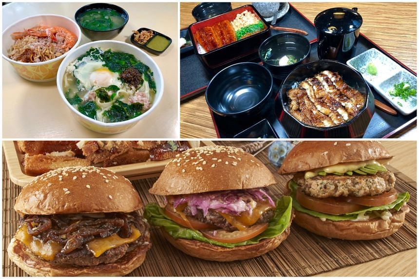 (Clockwise from top left) Ban Mian from Bossi Ban Mian, Unagi dishes from Una Una and burgers from Wolf Burgers.