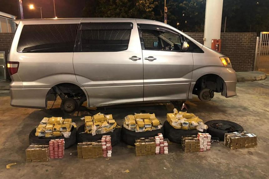 The contraband cigarettes, which were wrapped in plastic trunking and tape, were concealed within the tyres of the cars, ICA said in a Facebook post on Thursday.