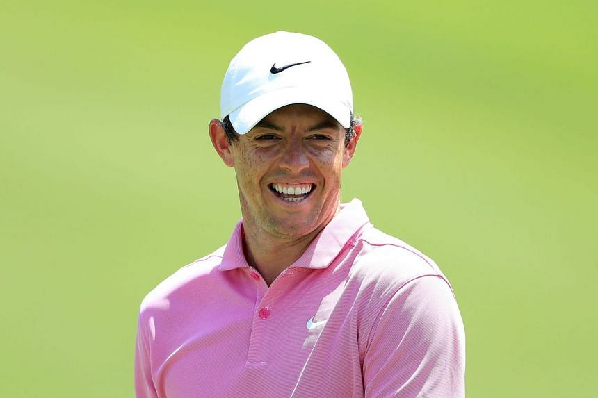McIlroy smiles during a practice round prior to the Tour Championship.