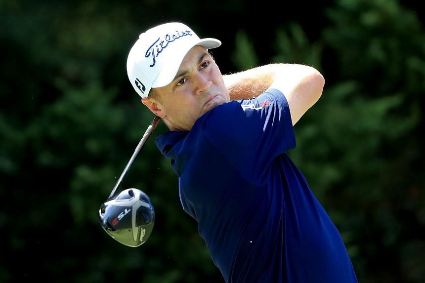 Thomas plays a shot during a practice round prior to the Tour Championship at East Lake Golf Club.