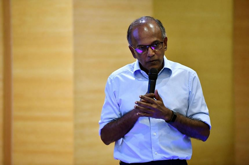 Minister for Home Affairs and Minister for Law K Shanmugam speaks at the CNM Leaders Summit at NUS University Hall on Aug 22, 2019.