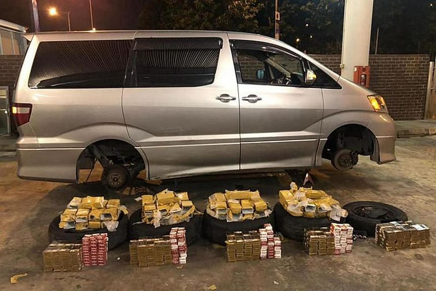 The cigarettes were found inside car tyres during inspections at Woodlands Checkpoint.