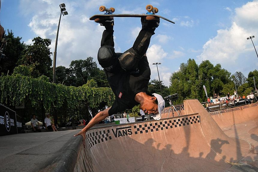 Indonesia's Pevi Permana Putra (left) in action during the Vans Park Series Asia Regionals Championships in Singapore last week. Skateboarding will make its debut at the SEA Games later this year and next year's Tokyo Olympics. Rocky Chan (below) is