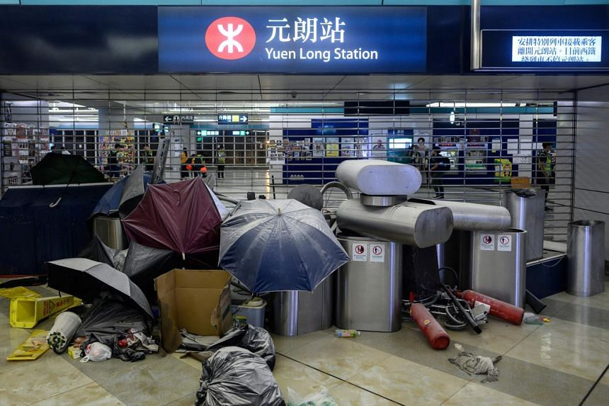 A barricade made by protesters is seen at Yuen Long MTR station in Hong Kong on Aug 21, 2019. The city has been gripped by anti-government protests for weeks, with China accusing Britain and other Western countries of meddling in its affairs.