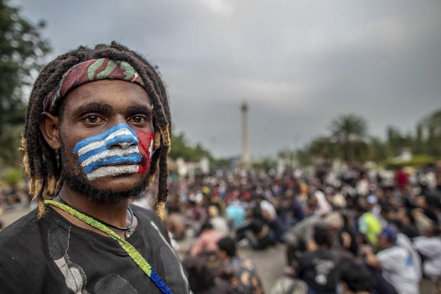 Students from Papua province protesting in front of Merdeka Palace in Jakarta on Aug 22, 2019, to call for a referendum on independence in their homeland.
