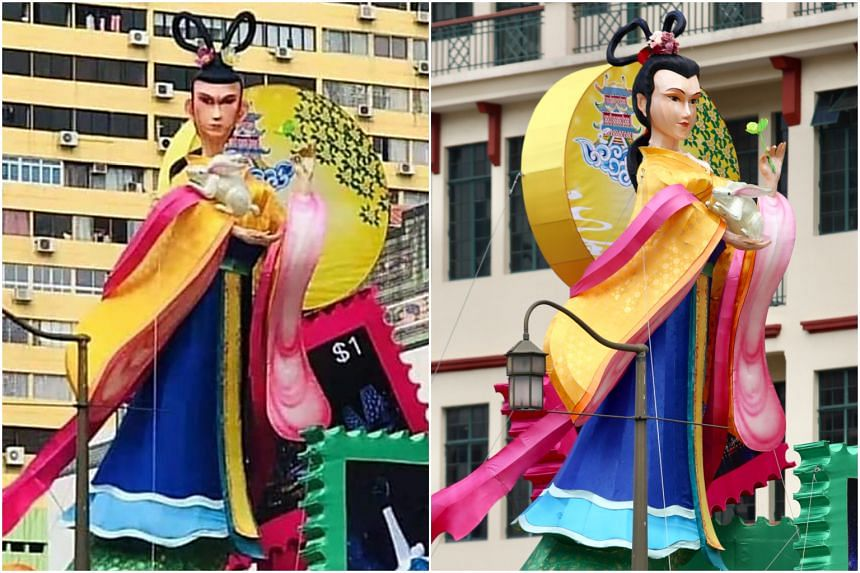 The Chang'e lantern was repainted on Aug 21 to give it softer features and different hair accessories (right).