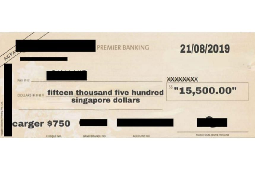 The scam victim was shown a photo of a bank cheque with her name on it and was asked to provide her bank account number.